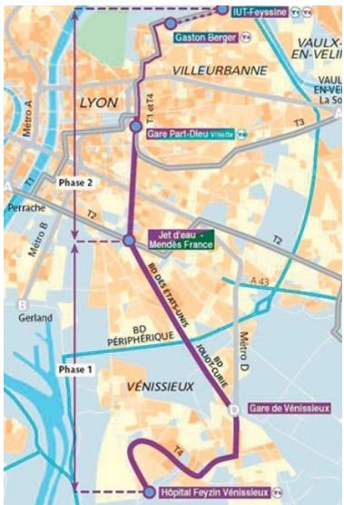 Lyon France Metro Map.Case Studies The Lyon S Tramway T4 France Benefit Wiki